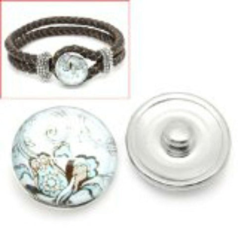 Vintage Pattern Glass Chunk Charm Button Fits Chunk Bracelet 18mm - Sexy Sparkles Fashion Jewelry - 1