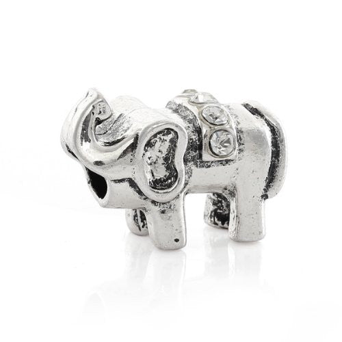 Elephant with  Crystals Charm European Bead Compatible for Most European Snake Chain Bracelet