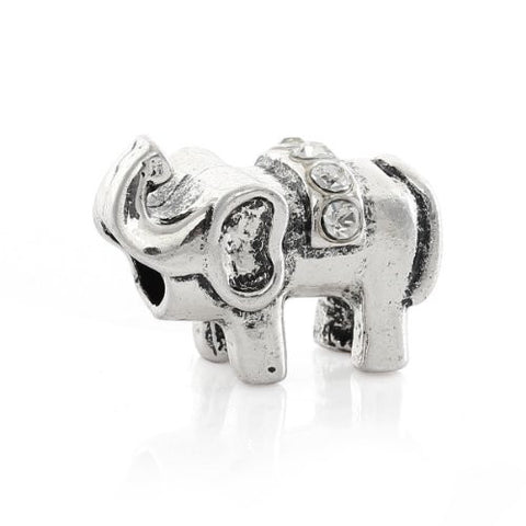 Elephant with  Crystals Charm European Bead Compatible for Most European Snake Chain Bracelet - Sexy Sparkles Fashion Jewelry - 1