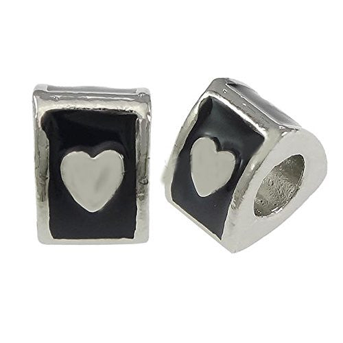 Triangle Heart Charm Bead Compatible with European snake charm bracelets