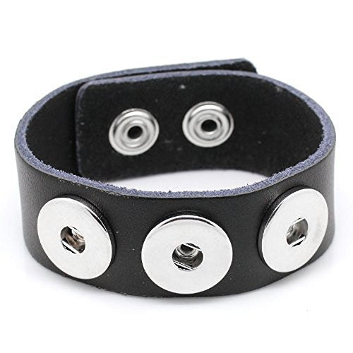 Black Leather Copper Buckle Chunk Bracelets Fit Snaps Chunk Buttons 24cmx2.4cm