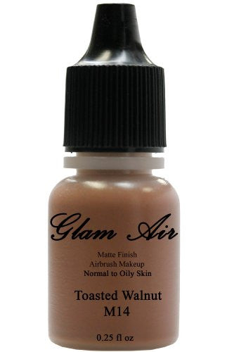 Airbrush Makeup Foundation Matte Finish M14 Toasted Walnut Water-based Makeup Lasting All Day 0.25 Oz Bottle By Glam Air - Sexy Sparkles Fashion Jewelry - 1