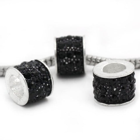 Black Sparkly Charm w/ Rhinestones for Snake Chain Charm Bracelets - Sexy Sparkles Fashion Jewelry - 3