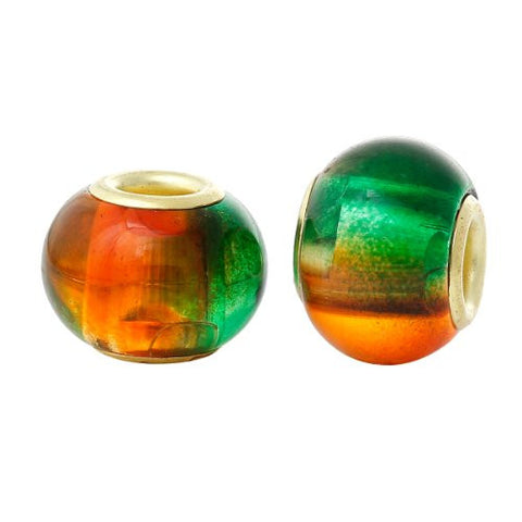 5 Glass European Charm Beads Round Green & orange multi - Sexy Sparkles Fashion Jewelry - 3