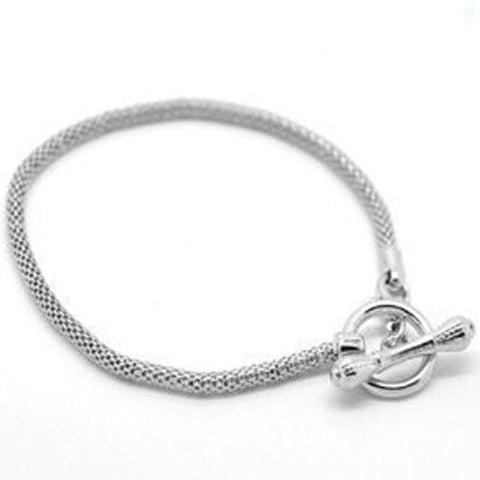 "8"" Silver Tone Toggle Clasp European Charm Bracelet - Sexy Sparkles Fashion Jewelry - 1"