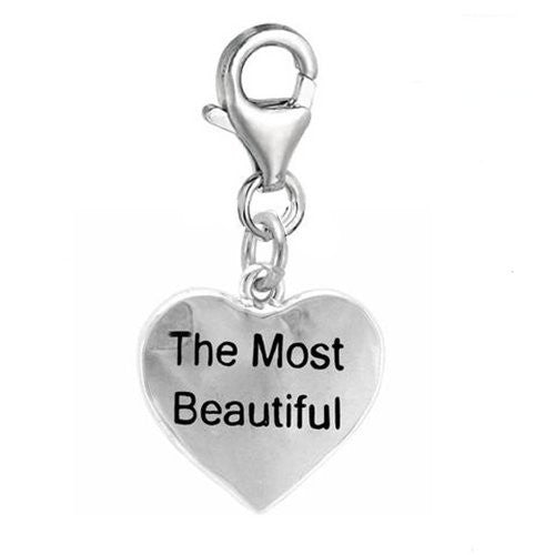 The Most Beautiful heart Clip On For Bracelet Charm Pendant for European Charm Jewelry w/ Lobster Clasp