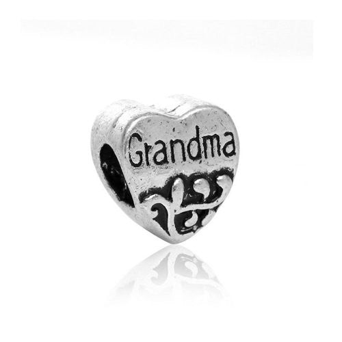 Grandma Heart Bead European Bead Compatible for Most European Snake Chain Charm Braceletss