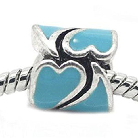 Heart Pattern Bead European Bead Compatible for Most European Snake Chain Braceletss (Blue) - Sexy Sparkles Fashion Jewelry - 1