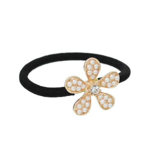 Nylon Cirlce Ring Hair Band Ponytail Holder Black Acrylic Imitation Pearl Choose Your Style From Menu (Flower) - Sexy Sparkles Fashion Jewelry - 1