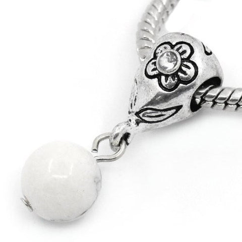 White Dangle Ball with Rhinestones Bead Charm Spacer for Snake Chain Charm Bracelets - Sexy Sparkles Fashion Jewelry - 4