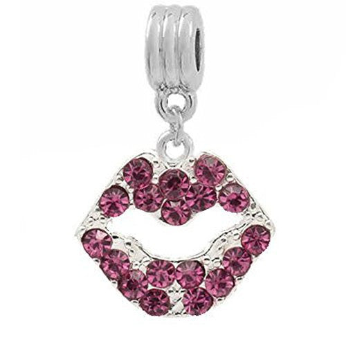 Pink Rhinestone Lips Dangle European Bead Compatible for Most European Snake Chain Bracelets