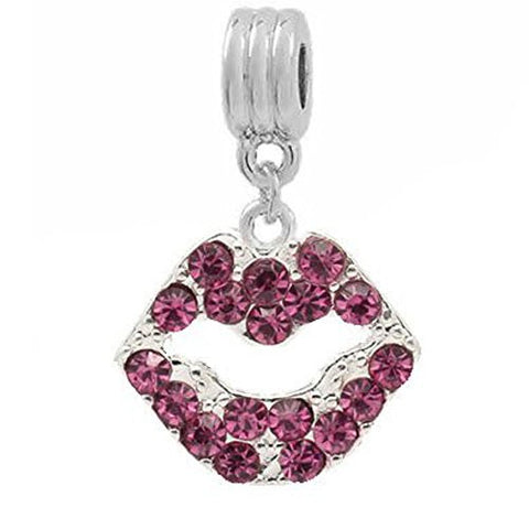 Pink Rhinestone Lips Dangle European Bead Compatible for Most European Snake Chain Bracelets - Sexy Sparkles Fashion Jewelry - 1