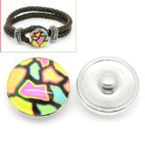 Mosaic Design Glass Chunk Charm Button Fits Chunk Bracelet 18mm - Sexy Sparkles Fashion Jewelry - 1