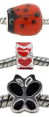 Set of Three (3) Charms Love Bug Charm Beads for European Snake Chain Charm Bracelets - Sexy Sparkles Fashion Jewelry - 2