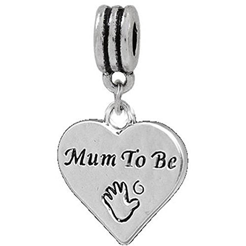 Mum to Be Dangle European Bead Compatible for Most European Snake Chain Charm Bracelet