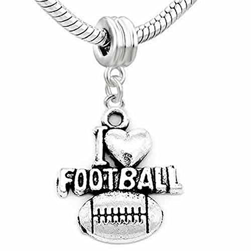 Football Charm Heart Dangle Charm European Bead Compatible for Most European Snake Chain Bracelet - Sexy Sparkles Fashion Jewelry