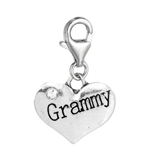 Clip on Heart Dangle 2 Sided Grammy Clear Rhinestones Pendant for Bracelet or necklace