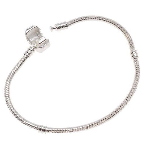 "Silver Tone Snake Chain Classic Bead Barrel Clasp Bracelet for Beads Charms (9.0"") - Sexy Sparkles Fashion Jewelry - 2"