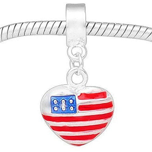 American Flag Heart  Dangle Charm European Bead Compatible for Most European Snake Chain Bracelet