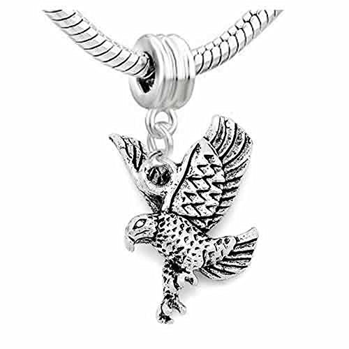 American Eagle Bird Charm Dangle European Bead Compatible for Most European Snake Chain Bracelet