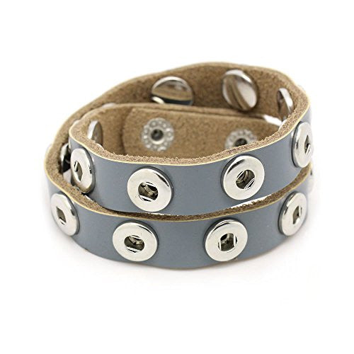 Real Leather Copper Buckle Bracelets French Grey Chunk Buttons Fit Interchangeable Snap Fasteners 45cmx1.4cm