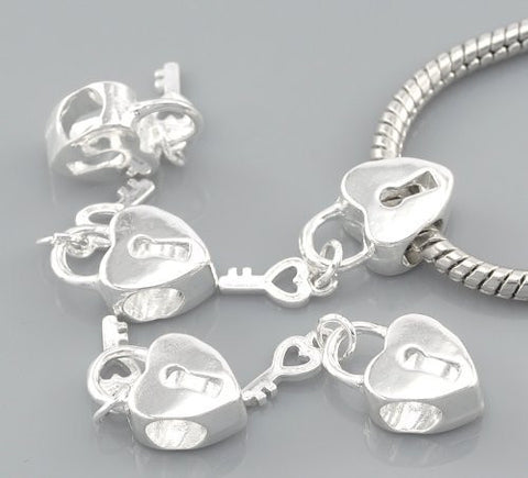 Key to my Heart Dangling Key Top Quality Charm Spacer Beads For Snake Chain Charm Bracelet - Sexy Sparkles Fashion Jewelry - 3