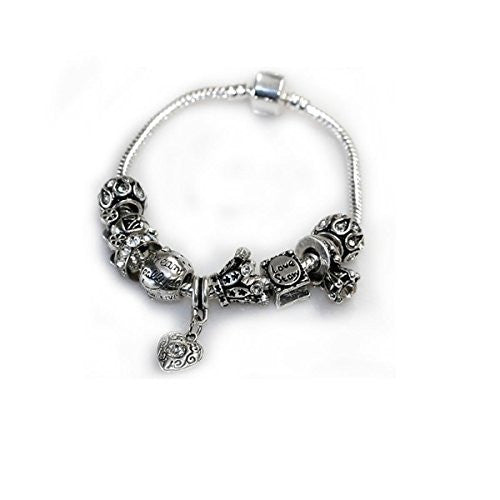 "7.5"" Love Story Charm Bracelet Pandora Style, Snake chain bracelet and charms as pictured"