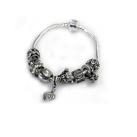 "7.5"" Love Story Charm Bracelet Pandora Style, Snake chain bracelet and charms as pictured - Sexy Sparkles Fashion Jewelry - 1"