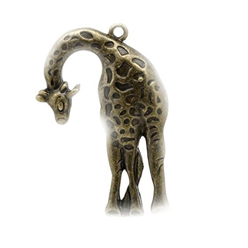 Antique Bronze Giraffe Charm Pendant - Sexy Sparkles Fashion Jewelry - 1