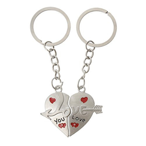 2 Piece Silver Tone Arrow Through Heart Love you Carved Enamel Red Black Key Chain - Sexy Sparkles Fashion Jewelry - 1