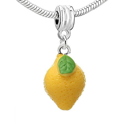 Resin Lemon Yellow Fruit Dangle Charm Pendant for European Snake Chain Bracelet