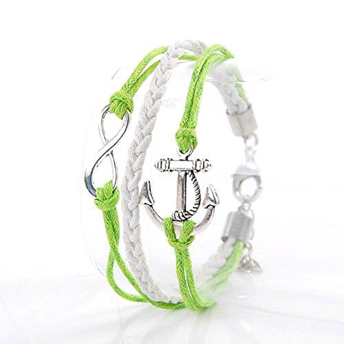 Never Ending Love Green Wax Rope Braided Bracelet with Anchor and Infinity Symbol 7 7/8