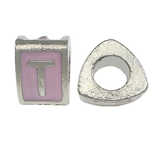 """T"" LetterTriangle Charm Beads Pink Spacer for Snake Chain Charm Bracelet"
