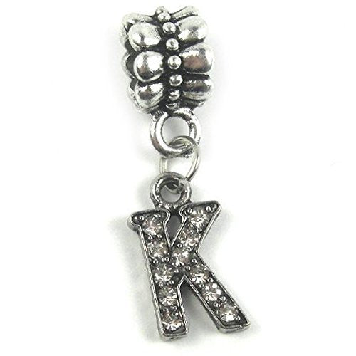 """K"" Letter Dangle Charm Beads with Crystals for Snake Chain Charm Bracelet - Sexy Sparkles Fashion Jewelry"