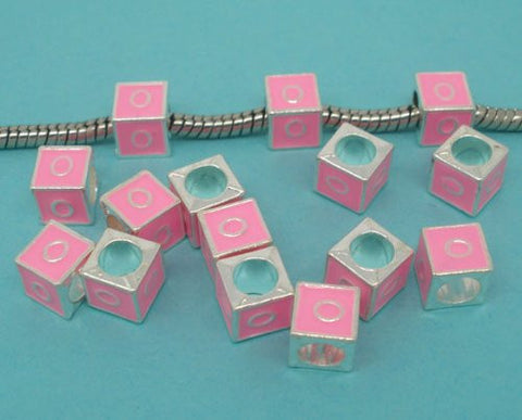 """O"" Letter Square Charm Beads Pink Enamel European Bead Compatible for Most European Snake Chain Charm Bracelets - Sexy Sparkles Fashion Jewelry - 2"