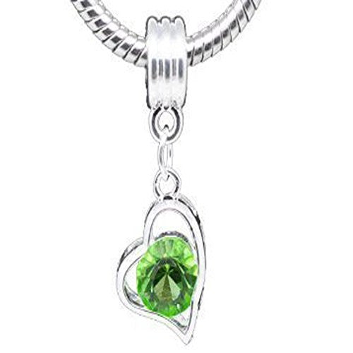 Heart Dangle w/ Crystal for Snake Chain Bracelet (Green)