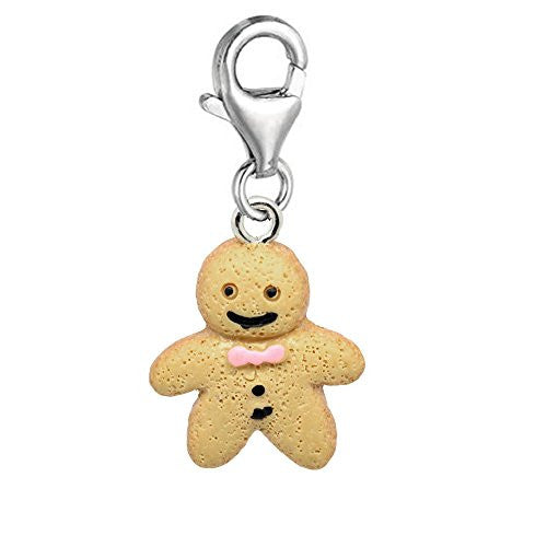 Christmas Ginger Bread Man Dangle Pendant for European Clip on Charm Jewelry w/ Lobster Clasp