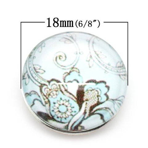 Vintage Pattern Glass Chunk Charm Button Fits Chunk Bracelet 18mm - Sexy Sparkles Fashion Jewelry - 2