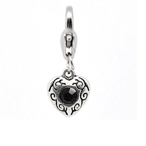 Antique Silver Black Rhinestone Heart Clip On Charms. Fits Thomas Sabo 26x10mm,