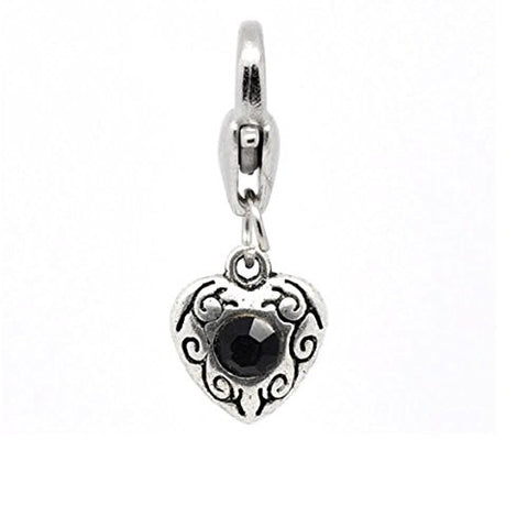 Antique Silver Black Rhinestone Heart Clip On Charms. Fits Thomas Sabo 26x10mm, - Sexy Sparkles Fashion Jewelry - 1