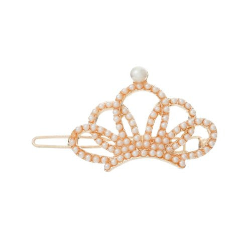 Hair Pin Clips Rose Gold Tone with Imitaiton Pearls Choose Your Design From Menu (Crown 5.4cm X 3cm) - Sexy Sparkles Fashion Jewelry