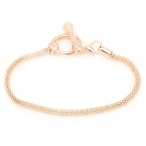 7.25 Rose Gold Tone Plated Base Toggle Clasp Snake Chain Charm W/lobster Clasp Bracelet - Sexy Sparkles Fashion Jewelry - 2