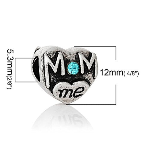 Mom and Me Heart W/Blue Rhinestones Charm Spacer European Bead Compatible for Most European Snake Chain Bracelet - Sexy Sparkles Fashion Jewelry - 3