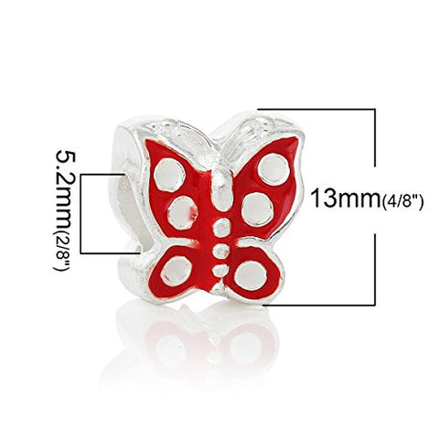 Red Enamel Mother's Day Butterfly European Bead Compatible for Most European Snake Chain Bracelet - Sexy Sparkles Fashion Jewelry - 3