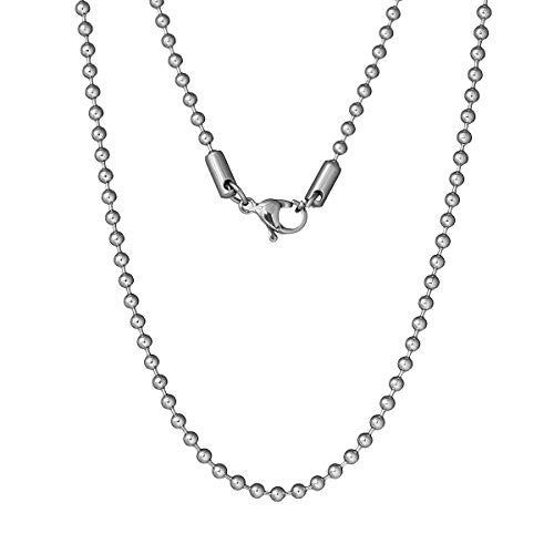 "16"" Inch Stainless Steel Chain Jewelry Necklace Silver Tone Ball Chains"