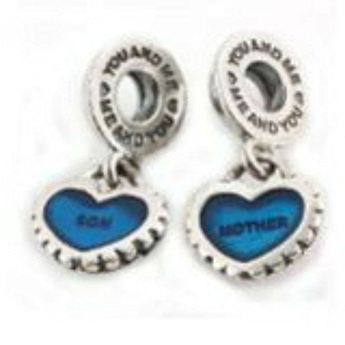 "2 Pc ""Mother Son"" Heart Charms Bead Compatible with European Snake Chain Bracelet - Sexy Sparkles Fashion Jewelry"
