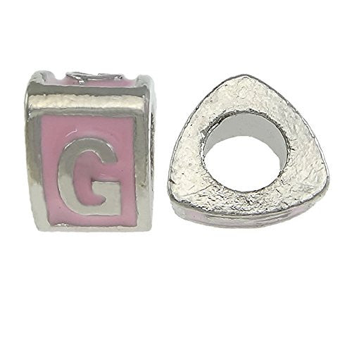 """G"" LetterTriangle Charm BeadsPink Spacer for Snake Chain Charm Bracelet"
