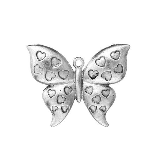Butterfly w/ Heart Pattern Charm Pendant for Necklace