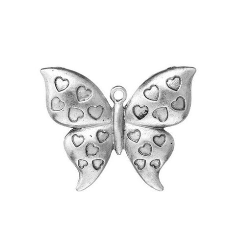 Butterfly w/ Heart Pattern Charm Pendant for Necklace - Sexy Sparkles Fashion Jewelry - 1