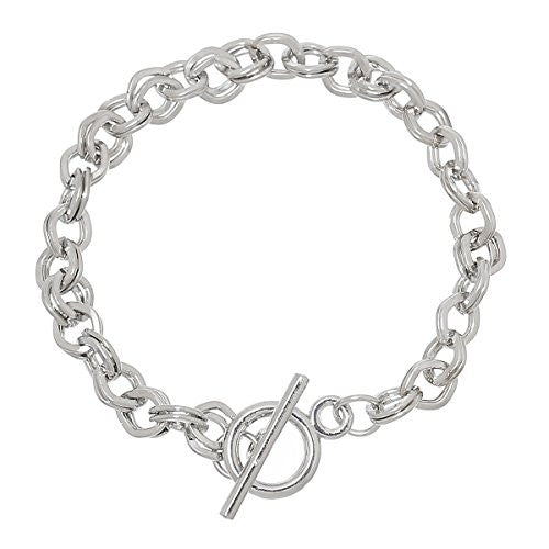 "Iron Alloy Double Cable Chain Toggle Clasp Bracelets Silver Tone 20cm(7 7/8"")"